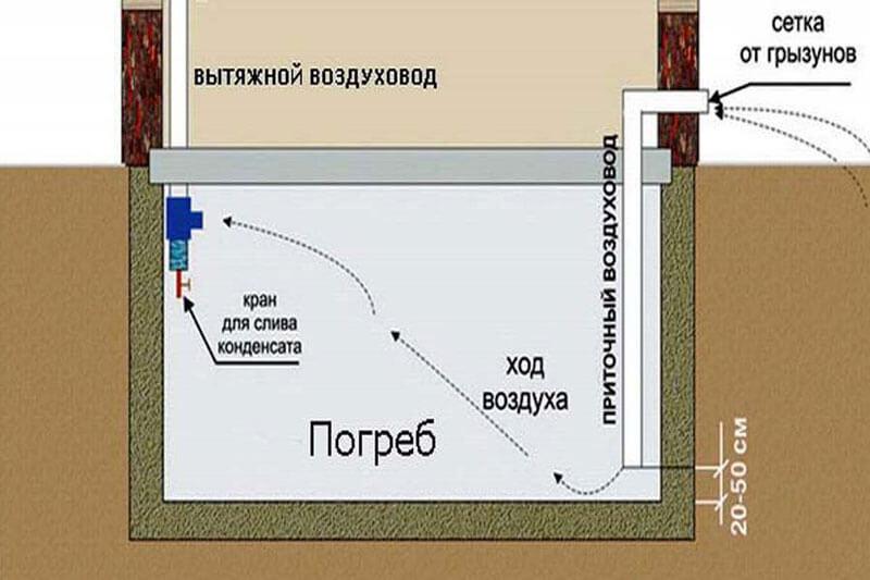 Организация системы вентиляции погреба