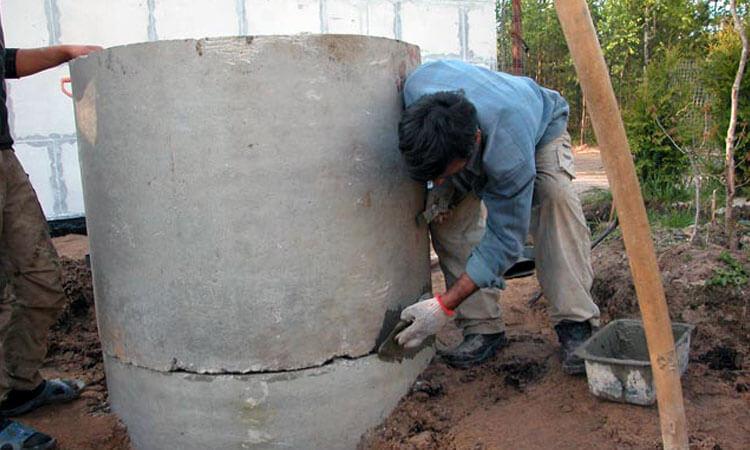 Внешняя гидроизоляция швов бетонных колец колодца