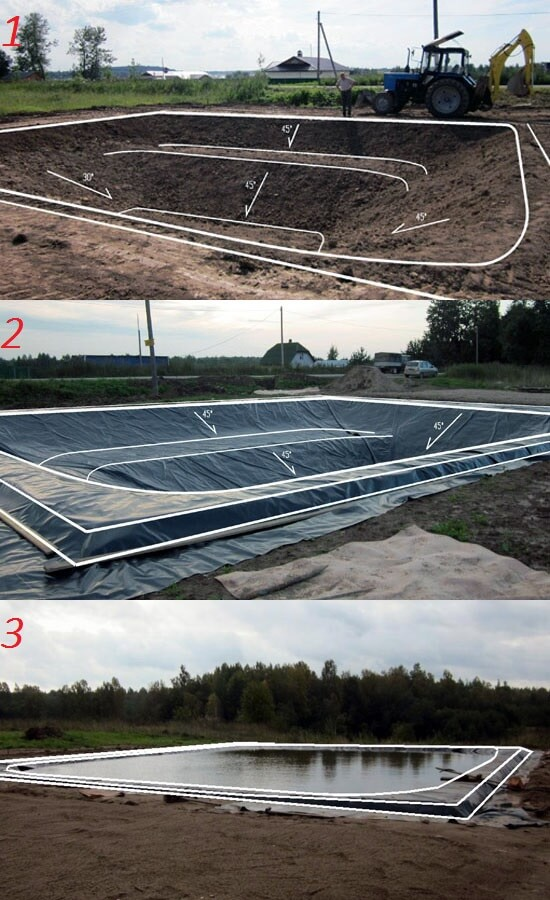 Этапы гидроизоляции пруда