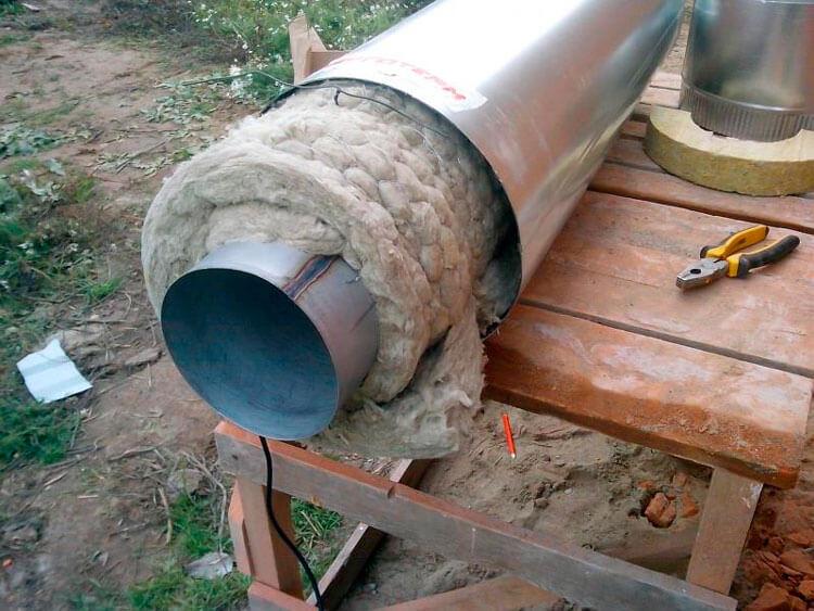 Теплоизоляция стальной газовой трубы
